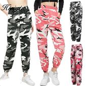 High waist pants camouflage loose joggers women army harem camo pants streetwear punk black cargo pants women capris trousers – shopping