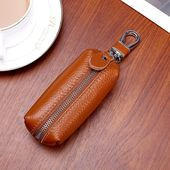 Photo of Genuine Leather Women& Men Key Wallet Unisex Car Key Holders Key Case Female Housekeeper Holder Chain Organizer Bag