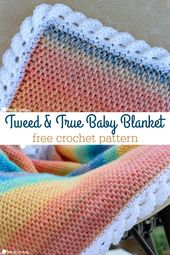 Baby Blanket Bright and fun colors make this new Tweed and True baby blanket pattern. Paired ...