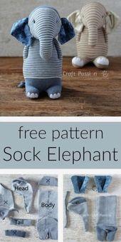 Sock Elephant Patterns Beaucoup d'idées mignonnes que vous adorerez