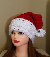 Crochet Cable Santa Hat With Jingle bell – 3-10 years – Santa Hat – Child's Santa Hat – Christmas Hat – Elf Hat – Crochet Slouchy Hat – Hats – Crocheting