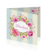 Uitnodiging 50 jaar getrouwd met strepen en roze bloemen