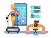 Ffitness app man and woman flat design. Sport health, mobile interface, smart gadget technology, vector illustration. Vector files