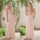 28eb917ba2 Cheap Rose Gold Sequins Top Long Chiffon Beach 2019 Bridesmaid Dresses  Halter Backless A Line Straps Ruffles Blush Pink Maid Of Honor Gowns