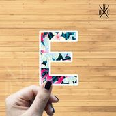"Letter ""E"" Tropical Vinyl Sticker, Best Friend Gift, Laptop Decals, Name Stickers, Monogram, Macbook"