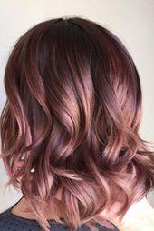 45 Rose Gold Haarfarbe Ideen für kurze Haarschnitte in diesem Jahr – Wass Sell   – Hair ideas