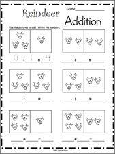 Reindeer Addition Math Worksheet