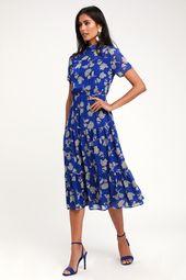 Floral Dressed Up Royal Blue Floral Print Midi Dress