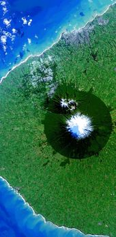 SAT032 Egmont National Park New Zealand \u2013 Earth From Space Satellite Fine Art Giclee Canvas Photo Print Wall Art Ready To Hang.
