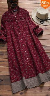 50% RABATT & Kostenloser Versand. Vintage Langarm Blumendruck Patchwork Stickerei Saum …