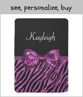 Chic Purple Zebra Print FAUX Glitz Bow with Name Baby Blanket #purpleribbon #purple …   – Nursery and for baby