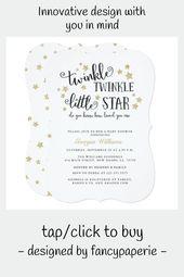 Baby Showers Twinkle Gold Twinkle Twinkle Little Star Baby Shower Invitation #baby #shower #baby #spr...