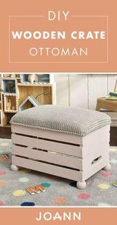 Verwandeln Sie eine Holzkiste mit Hilfe dieses Tutorials in ein gemütliches Möbelstück …