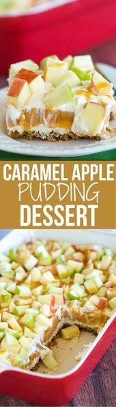 Dieser Karamell-Apfelpudding hat Schichten aus Karamell-Käsekuchen-Füllung, Karamell-Pudding …   – Desserts & Snacks