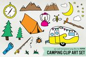 Camping Doodle Illustration Clipart by Pepper on Creative Market
