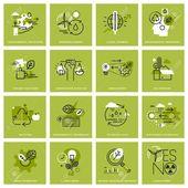 Set von dünnen Linie Konzept Ikonen der Umwelt, erneuerbare Energien, nachhaltige Technologie, Recycling, Ökologie Lösungen. Premium-Qualität Icons für Website, mobile Website und App-Design.