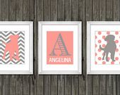 Coral and gray baby girl nursery wall art, girls puppy dog nursery customized na…  – Puppy dog nursery decor