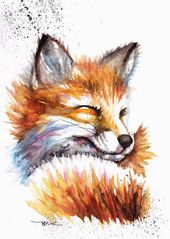 Fox Watercolour Painting, Fox Watercolour Print, Wildlife Art, Animals, Foxes, fox painting art,fox painting illustration, fox print art,art