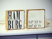 2 Set-your City AND YOUR Coordinates-Decoration signs, Wooden Murals, Personalized according to your Desire, City, country, name