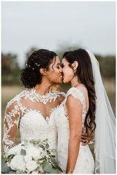 Romantisches Hochzeitsfoto | Lesben Hochzeitsfotografie Kuss | Ein Weingut Hochzeit mit …