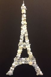 Button art craft Eiffel tower Paris black an white                              …