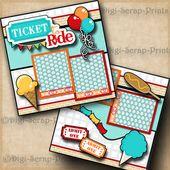 TICKET TO RIDE ~ amusement park premade scrapbook pages paper LAYOUT ~ DIGISCRAP…
