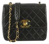 Chanel Classic Flap Vintage Square Cc Quilted Medium Black Lambskin Leather Shoulder Bag