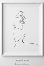 Minimalist line art drawing, one line illustration, feminine wall art, minimalism art, beauty sketch, female face artwork, woman illustration, printab...