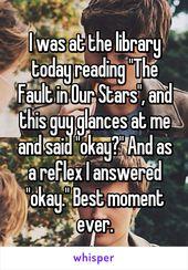"""J'étais à la bibliothèque aujourd'hui en train de lire """"La faille à nos stars"""", et ce regard d'un gars …   – Stuff"""