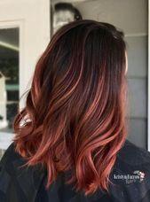 27 Ideen Haarfarbe Ideen für Brünette Ombre Rot Rotbraun   – Hairstyle