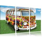 Cult 60's Flower Power Hippie Bus 3-Piece Photographic Print Set on Canvas East Urban Home – Products