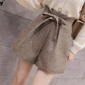 Korean ruffled high waist woolen women's shorts  autumn winter new …