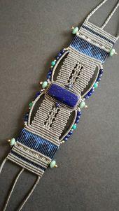 In macrame and fine gemstone cuff bracelet