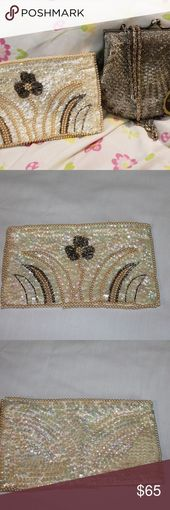 Photo of La Regale Evening Sequin / Beading Bags Lot The cream bag is used, but …