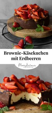 Photo of Brownie cheesecake with strawberries