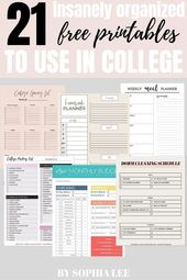 21 Best Free College Printables Every Student Should Know About These are the be… – FREEBIES