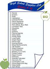 Die Liste der High School (9-12) -Zubehörteile ist alles, was Sie brauchen, um die Schüler auf den Rücken vorzubereiten …