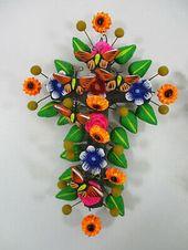 Mexico Handmade set of 2 CLAY CROSSES handmade colorful mexican folk art, tree of life style