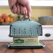 Butter Dish Size with Lid and Handle – Rustic Aqua Fog – French Country Home Decor – ORDER OPTIONS