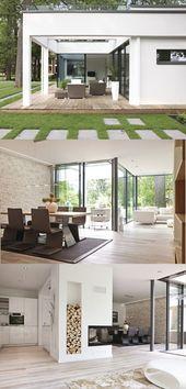 Bungalow ebenLeben Weberhaus – Modern flat roof house in Bauhaus style with glass fa …