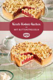 Cherry and raspberry crumb cake   – Streuselkuchen-Rezepte