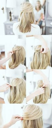 45 Easy Peasy Hairstyle Tutorials for Working MOMs Check more at bestefrisur.com / …
