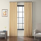 Exclusive Fabrics Faux Dupioni Shantung Silk Curtain (50 X 108 – heath tan), Brown(Polyester Blend, Solid)