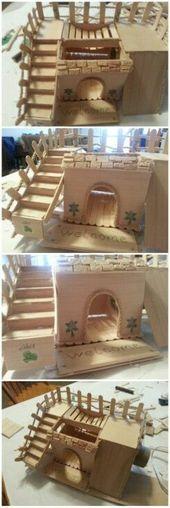 DIY Drawf Hamster House. Hergestellt mit nur 3 Materialien plus Heißkleber. Eis am Stiel