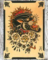 """BEYOND TRADITION auf Instagram: """"Fresh Panther painting by @falkmalisch 💥🤙🏼✨. Qualitativ hochwertiger Druck jetzt erhältlich ——————————— #tattooprint #tattooart # tattooartist… """""""
