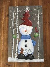 Weihnachten Holz Zeichen Schneemann Dekorationen Holiday Decor | Etsy  #decor #d…