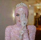 Modernt Hijab brudhuvud och vit Henna