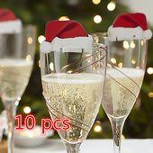 10PCS Weihnachtsrotwein Pappbecher Karte Weihnachtsmütze Weinglas