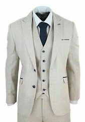 Men's Wool Tweed 3 Piece Vintage Peaky Blinders Suit Cream Retro Classic Custom …