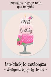 Cute girly pink floral birthday cake illustration classic round sticker | Zazzle.com – Ice Cream Party